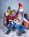Winter Fashion. Happy family. Royalty Free Stock Photo