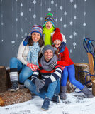 Winter Fashion. Happy family. Royalty Free Stock Photography