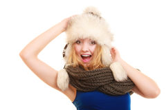 Winter fashion. Happy young woman in fur hat. Royalty Free Stock Images