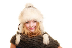 Winter fashion. Happy young woman in fur hat. Royalty Free Stock Photography