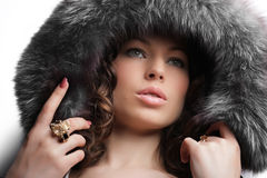 Winter fashion & makeup Royalty Free Stock Image