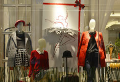 Winter fashion Mannequins  in fashion shop window. Mannequins in fashion clothing store. display with mannequins in shopping mall in Hongkong, China,Asia. A Royalty Free Stock Photo