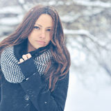 Winter fashion outdoor portrait of young attractive brunette Stock Photos