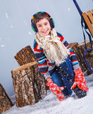 Winter Fashion. Portrait of adorable happy boy. Royalty Free Stock Photography
