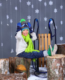 Winter Fashion. Portrait of adorable happy boy. Royalty Free Stock Images