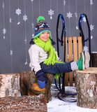 Winter Fashion. Portrait of adorable happy boy. Stock Photo
