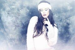 Winter fashion portrait. Of brunette woman stock photos