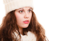 Winter fashion. Portrait girl woman in warm clothing hat scarf isolated Stock Photography