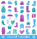 Winter fashion. Set of vector icons for winter fashion vector illustration