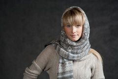Winter fashion shot of a beautiful girl with long Royalty Free Stock Image