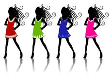 Winter Fashion Silhouettes 2. A clip art illustration of 4 winter fashion female silhouettes wearing colorful short dresses Royalty Free Stock Photos