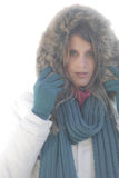 Winter fashion - woman on foggy day Royalty Free Stock Image