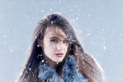 Winter fashion woman in a fur coat. Royalty Free Stock Images