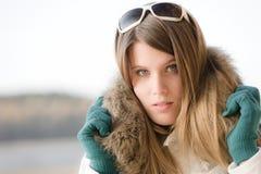 Winter fashion - woman with fur hood Stock Image