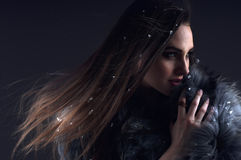 Winter Fashion Woman In A Fur Coat. Royalty Free Stock Photography