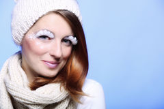 Winter fashion woman warm clothing creative makeup Royalty Free Stock Photography