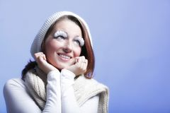 Winter fashion woman warm clothing creative makeup Royalty Free Stock Photo