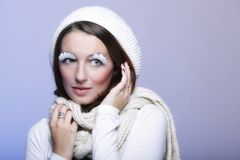 Winter fashion woman warm clothing creative makeup Royalty Free Stock Photos