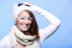 Winter fashion woman warm clothing creative makeup Stock Photography