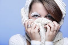 Winter fashion woman warm clothing creative makeup Stock Photo