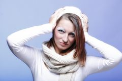 Winter fashion woman warm clothing creative makeup Royalty Free Stock Photo