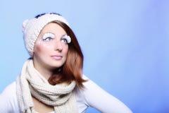 Winter fashion woman warm clothing creative makeup Stock Photography