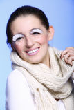 Winter fashion woman warm clothing creative makeup Stock Photo