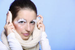 Winter fashion woman warm clothing creative makeup Stock Image