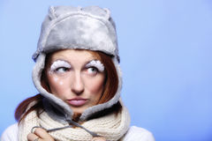 Winter fashion woman warm clothing creative makeup Stock Photos
