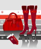 Winter fashions. Illustration of female winter kit-boots, gloves and hand bag vector illustration