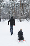 In winter, the father carries his son on a sled in the woods Stock Photo