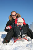 Winter father with child Stock Image