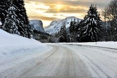 Winter feeling. Winter road in Norwegian landscape, Sunnmøre in western Norway stock photos