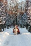 Winter Feiertag-gehen in Wagen Stockbild