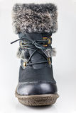 Winter female boot with fur isolated, Stack focus Stock Photo