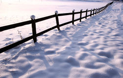 Winter fence. Fence under the snow in winter a sunny cold day royalty free stock photography