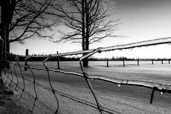 Winter Fence. Winter time snow in Canada Royalty Free Stock Photos