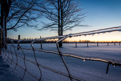 Winter Fence. Winter time snow in Canada Royalty Free Stock Images