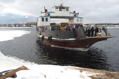 Winter ferry. Karelia. The River Svir. Winter crossing on the ferry Stock Images