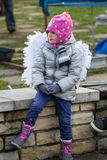 The winter-festival Angel in the country town. Stock Photo