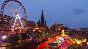 Winter festival in Old town Edinburgh  at night Royalty Free Stock Photography