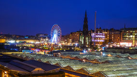 Winter festival in Old town Edinburgh  at night Stock Images