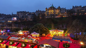 Winter festival in Old town Edinburgh  at night Royalty Free Stock Photos