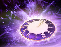 Winter festive background with round watch. Stock Images