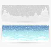 Winter festive backgrounds. With winter landscapes, snow, snowflakes in gray and blue colors. Horizontally rectangular banners Stock Images