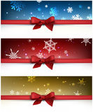 Winter festive backgrounds set. With bow. Vector illustration Royalty Free Stock Photography