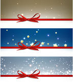 Winter festive backgrounds set. With bow. Vector illustration Stock Images