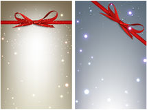 Winter festive backgrounds set. Winter festive backgrounds set with bow. Vector illustration Stock Image