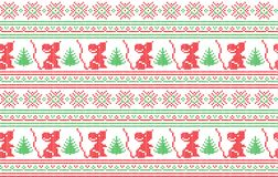 Winter festive Christmas knitted pattern woolen knitted Stock Images