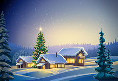 Winter festive forest landscape. Winter festive forest landscape with houses and Christmas tree. Raster illustration Royalty Free Stock Images